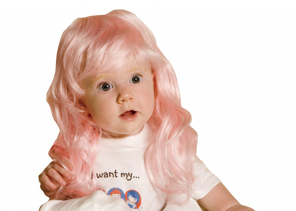 Baby wigs are a new trend that make hilarious baby shower gifts.