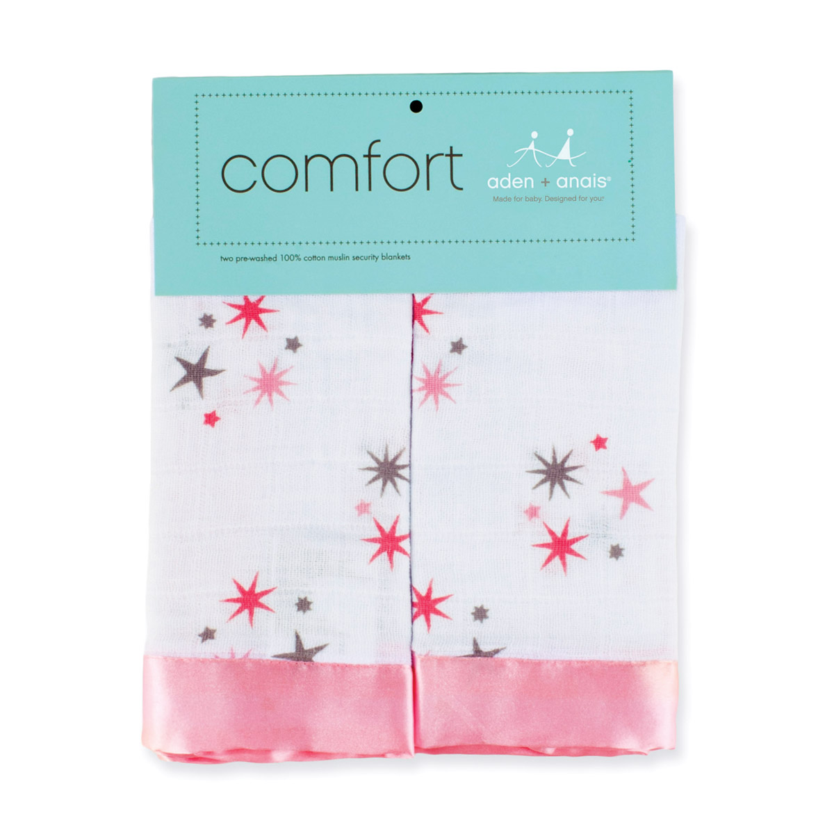 Aden Anais Security Blanket Rinny Pink Stars 2 Pack