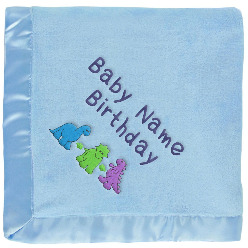 Personalized Blue Baby Blanket: Dinosaurs, Name & Birthday