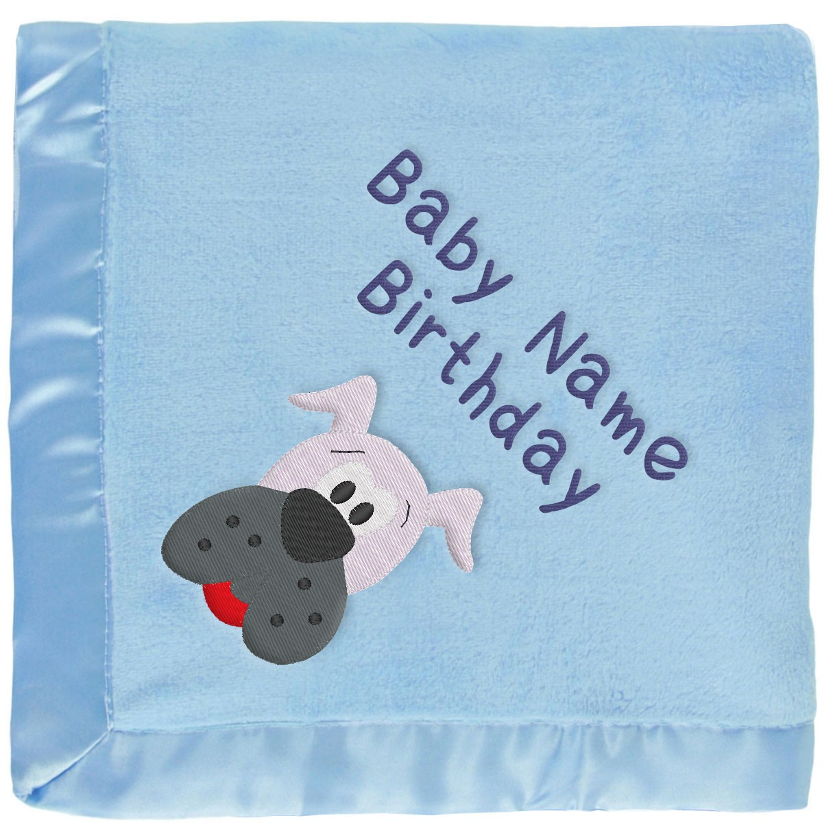 7533e18723c1 Blue Baby Blanket With Gray Dog   Embroidered Boy s Name