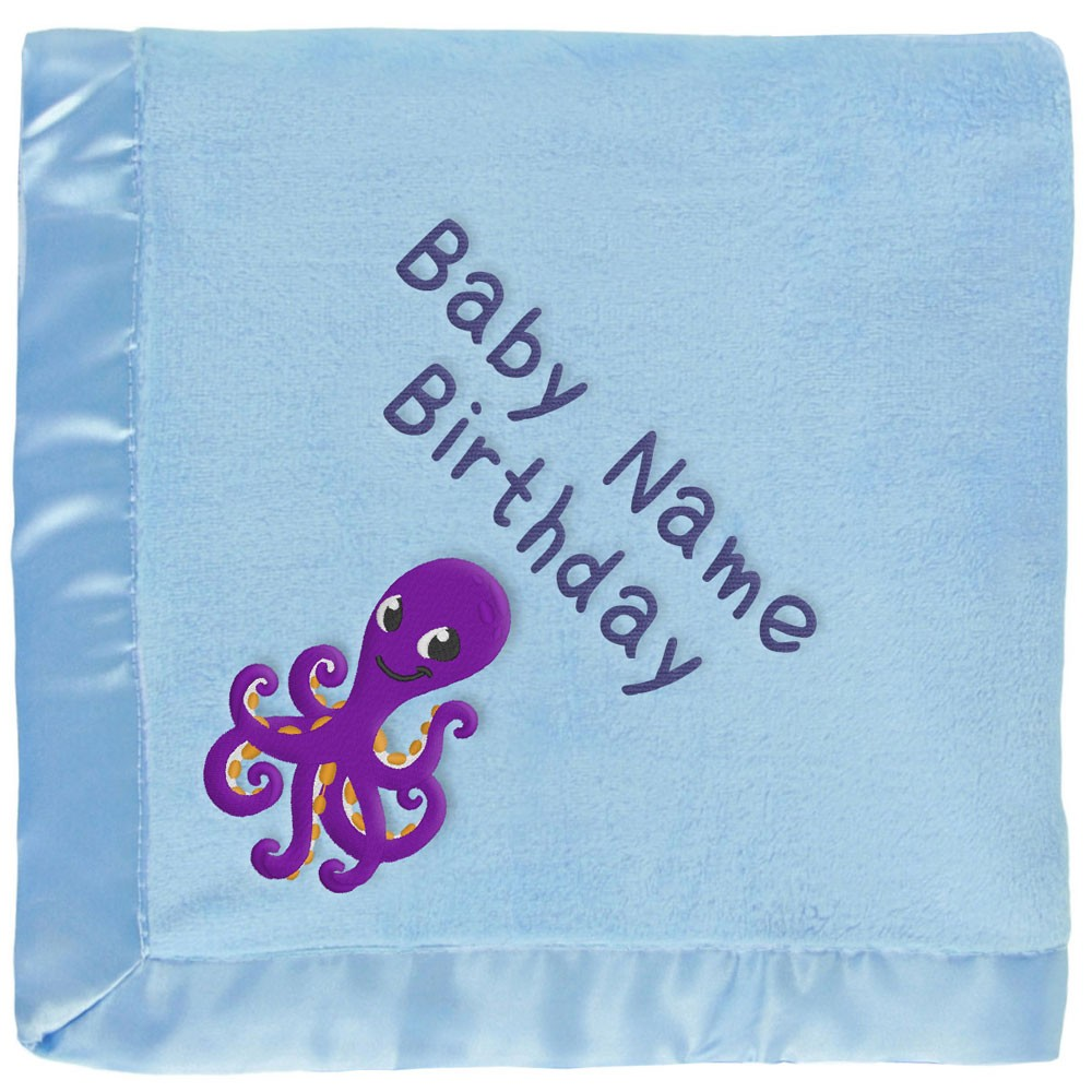 Personalized Purple Octopus Baby Blanket in Blue