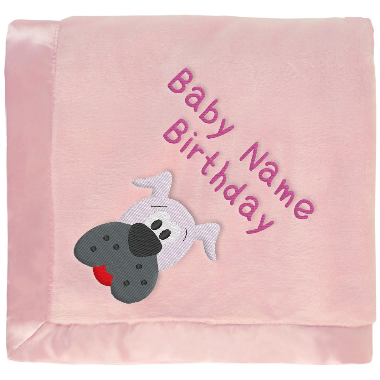 Pink Baby Blanket With Gray Dog & Embroidered Girl's Name