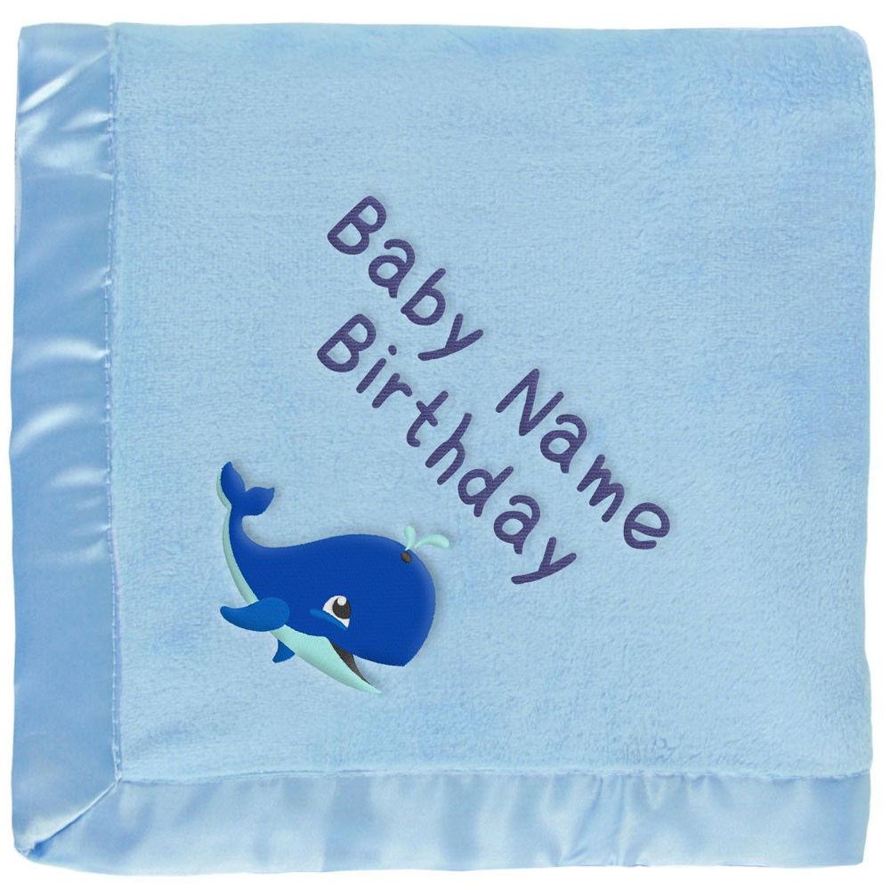Customized Blue Baby Blanket - Blue Whale