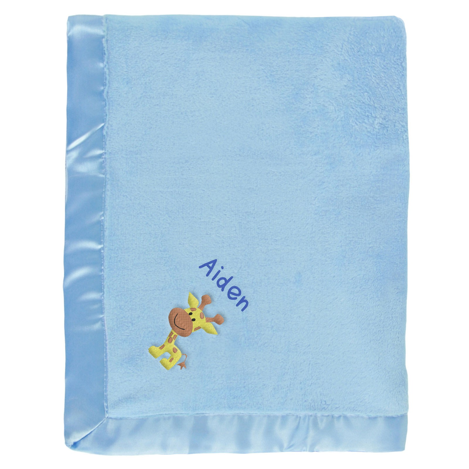 Aiden baby blanket with name giraffe blue negle Images