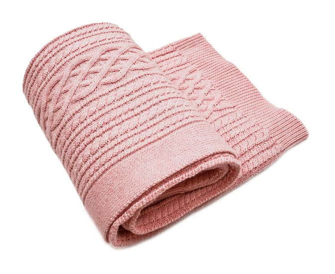 Egg Baby Cable Knit Blanket Pink