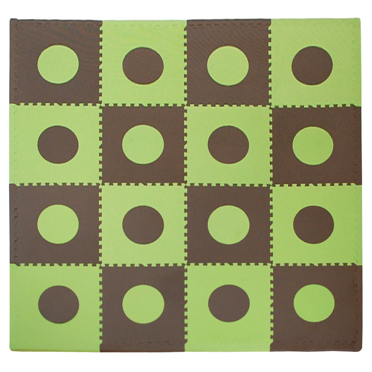 Eva Foam Play Mats - Green & Brown Floor Tiles
