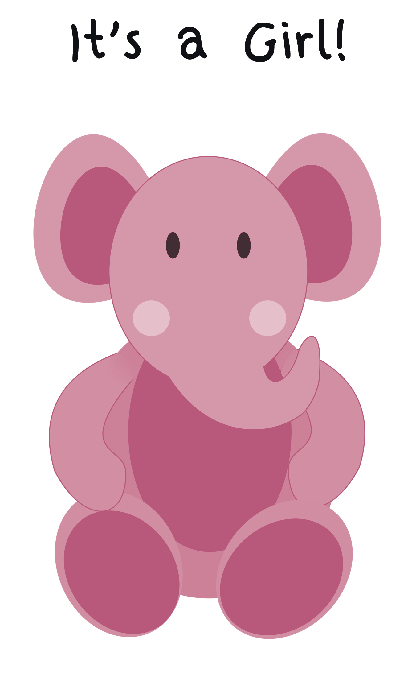 Elephant Greeting Card For Baby Girl