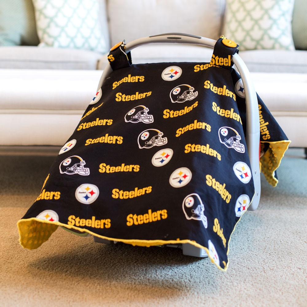 & Pittsburgh Steelers Baby Gear: Carseat Canopy Cover NFL Licensed