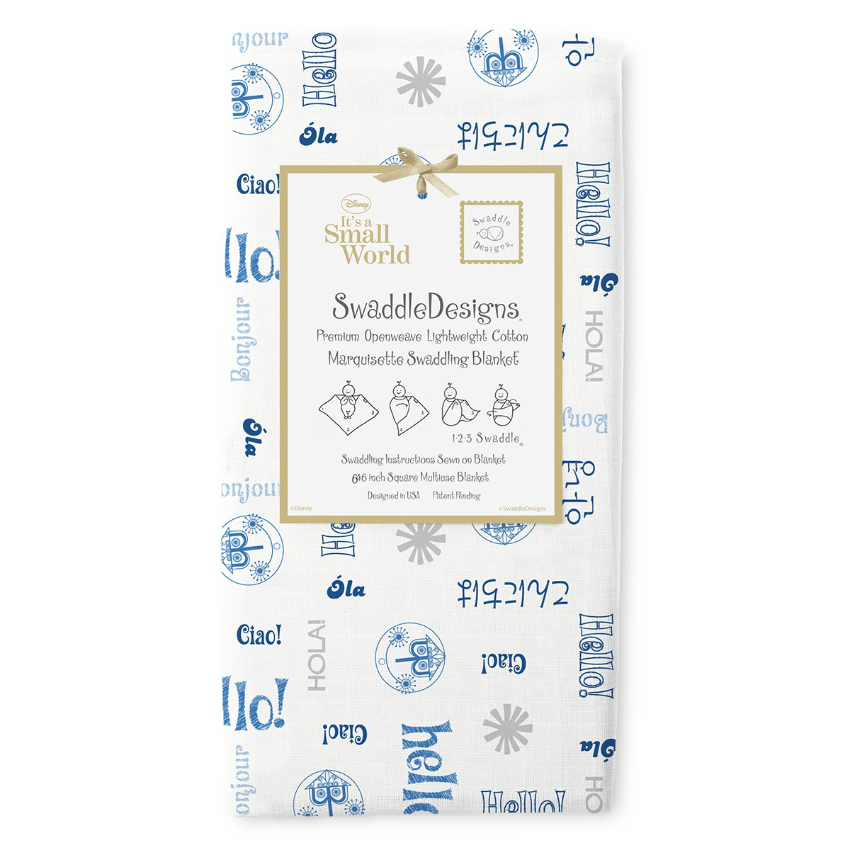 Its A Small World Blue Swaddle Blanket Swaddle Designs