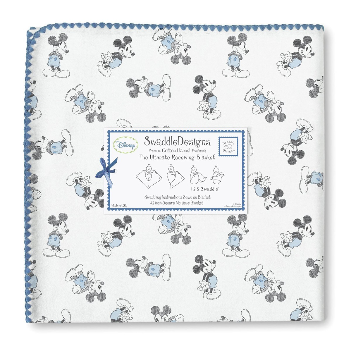 Swaddle Designs Ultimate Receiving Blanket Mickey Minnie Blue