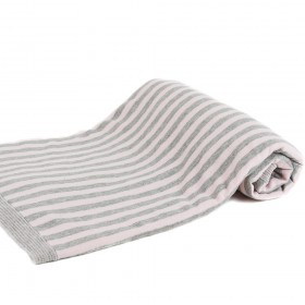 Basic Essential Baby Blanket, Pink & Gray Stripes - Angel Dear
