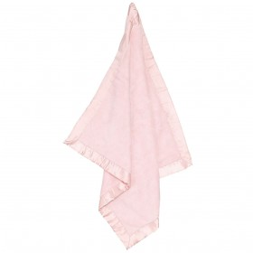Baby Pink Fuzzy Blanket With Satin Trim - Angel Dear