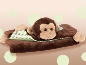 Giggles Brown Monkey Belly Blanket - Bearington