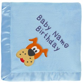Blue Baby Blanket With Brown Dog & Embroidered Boy's Name