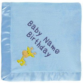 Baby Giraffe Blanket for Boys in Blue