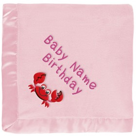 Customized Girls' Baby Blanket - Red Crab