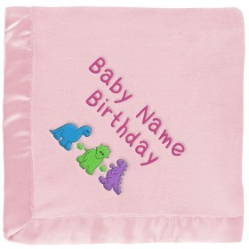 Personalized Pink Baby Blanket: Dinosaurs, Name & Birthday