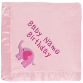 Baby Girl Elephant Blanket With Heart in Pink