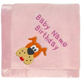 Pink Baby Blanket With Brown Dog & Embroidered Girl's Name