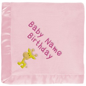 Baby Giraffe Blanket for Girls in Pink