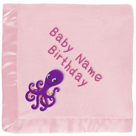 Personalized Purple Octopus Baby Blanket in Pink