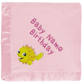 Yellow Puffer Fish Baby Blanket in Pink