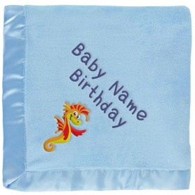 Customized Blue Baby Blanket - Orange Seahorse