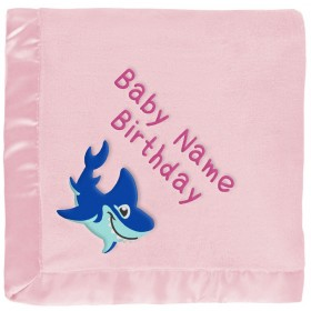 Pink Shark Personalized Baby Blanket
