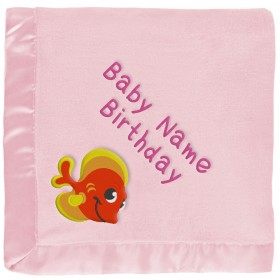 Personalized Baby Blanket - Orange Tropical Fish - Pink