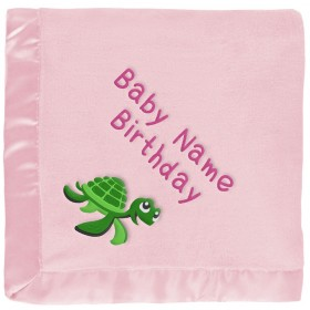 Personalized Baby Blanket - Green Sea Turtle on Pink