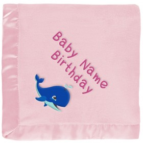 Customized Pink Baby Blanket - Blue Whale