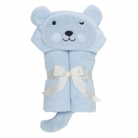 Pastel Blue Bear Bath Wrap / Hooded Towel - Elegant Baby