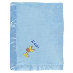 Aiden Baby Blanket With Name & Giraffe, Blue