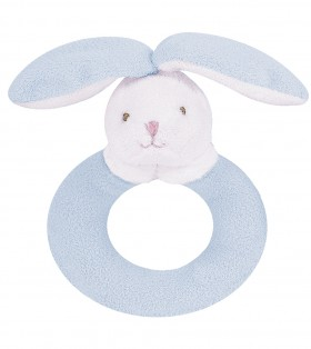 Blue Floppy Ears Bunny Ring Rattle - Angel Dear