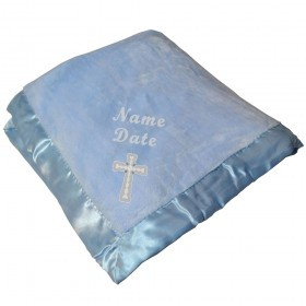 Christening Blanket For Boys - Blue With White Cross