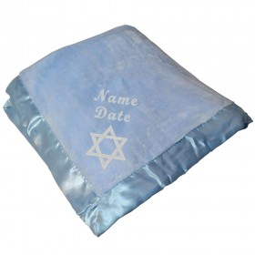 Jewish Baby Blanket For Boys - Blue With Star of David