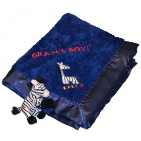 Embroidered Zebra Blanket - Blue, Kushies