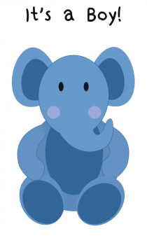 Elephant Greeting Card for Baby Boy