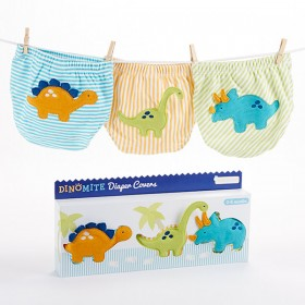DinoMite Dinosaur Diaper Cover Gift Set - 3 Piece Bloomers, 0-6 Month - Baby Aspen