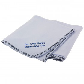 Personalized Double Zigzag Receiving Blanket - Blue