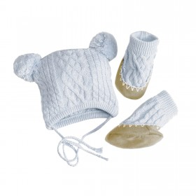Egg Baby Cable Hat And Bootie Set  Medium - Blue