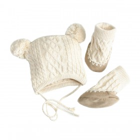 Egg Baby Cable Hat And Bootie Set  Medium - Ivory