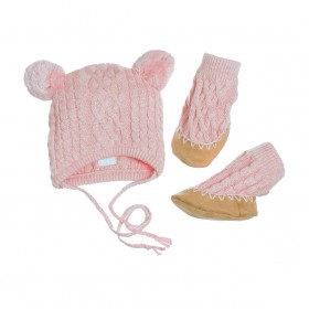 Egg Baby Cable Hat And Bootie Set  Medium - Pink