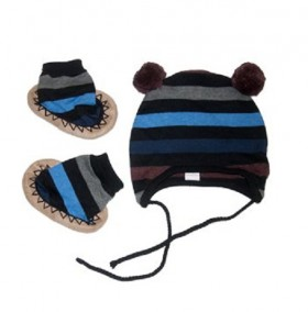 Egg Baby Striped Knit Hat And Bootie Set - Blue