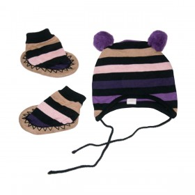 Egg Baby Striped Knit Hat And Bootie Set - Pink