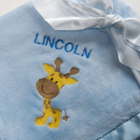 Bearington Silky Soft Personalized Crib Blanket - Blue