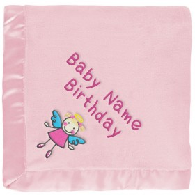 Girl Angel With Wings Baby Blanket in Pink