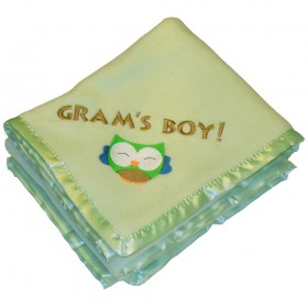 Fleece Baby Blanket - Green With Satin Trim, American Baby