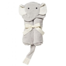 Gray Elephant Bath Wrap / Hooded Towel - Elegant Baby