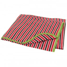 Red Striped Cotton Receiving Blanket With Green Trim